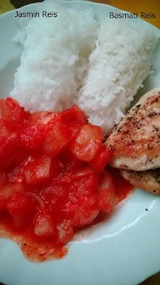 Reis mit Hähnchen und Paprika pfanne