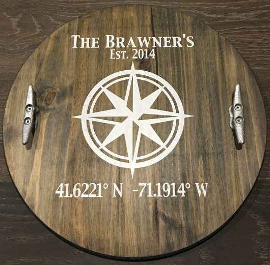 Personalized Nautical Wood Tray