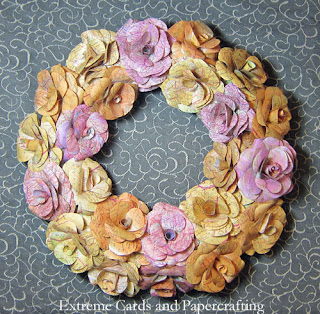 papercraft rolled roses wreath