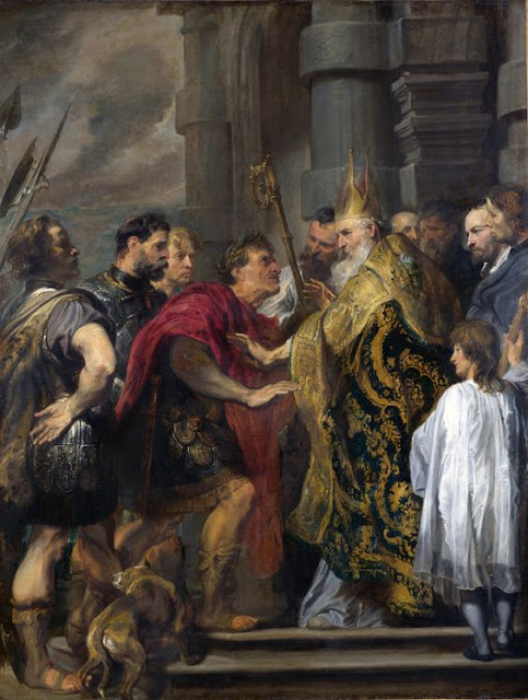 St. Ambrose Barring Theodosius I from Milan Cathedral.  Anthony van Dyck, 1619-20