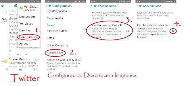 Pantallazos de los pasos que hay que dar para configurar la opción de descripción de imágnes en twitter Android