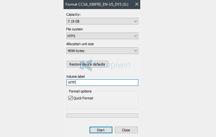 format flashdisk untuk bootable