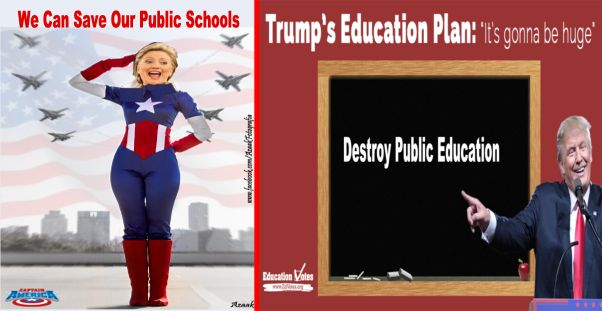 Image result for Clinton, Trump, and K-12