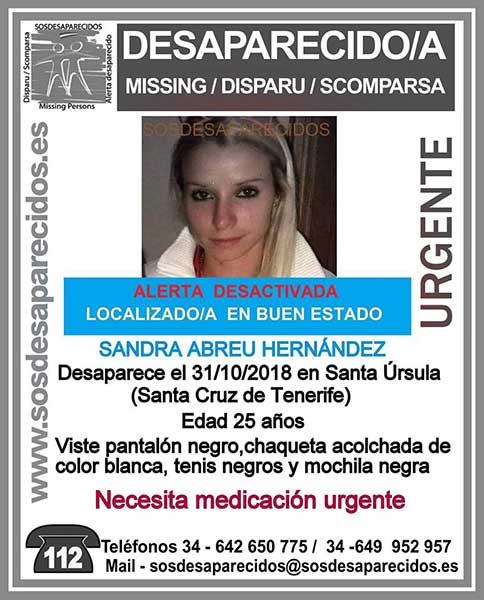 Ha sido localizada en buen estado la joven Sandra Abreu Hernández, Santa Úrsula, Tenerife