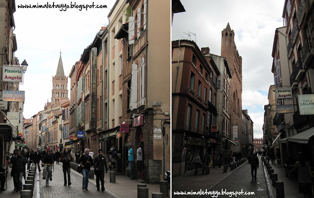 Rue du Taur e iglesia Notre-Dame du Taur, en Toulouse