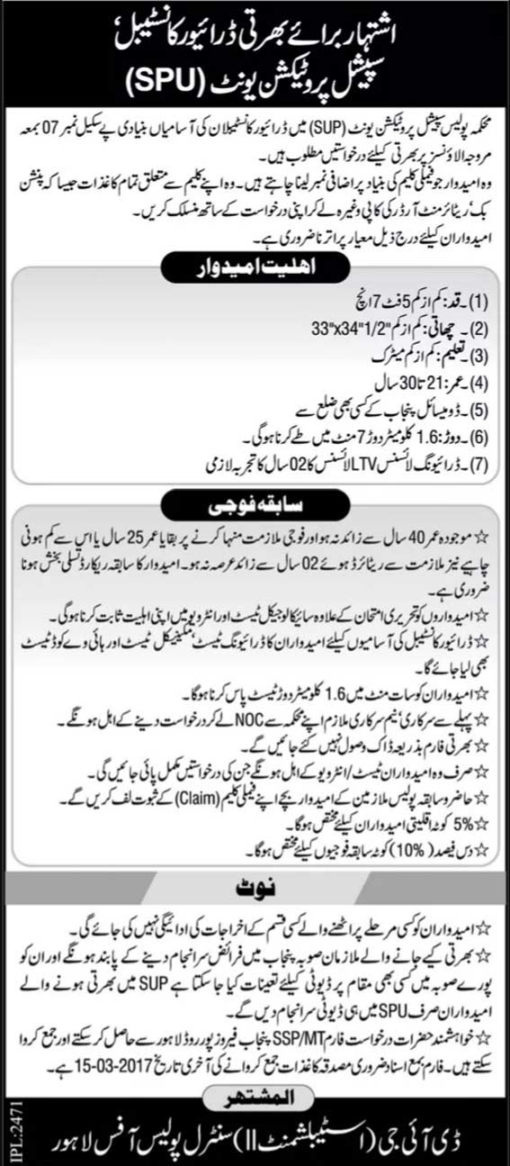Special Protection Unit SPU Punjab Police Constable Jobs 2017