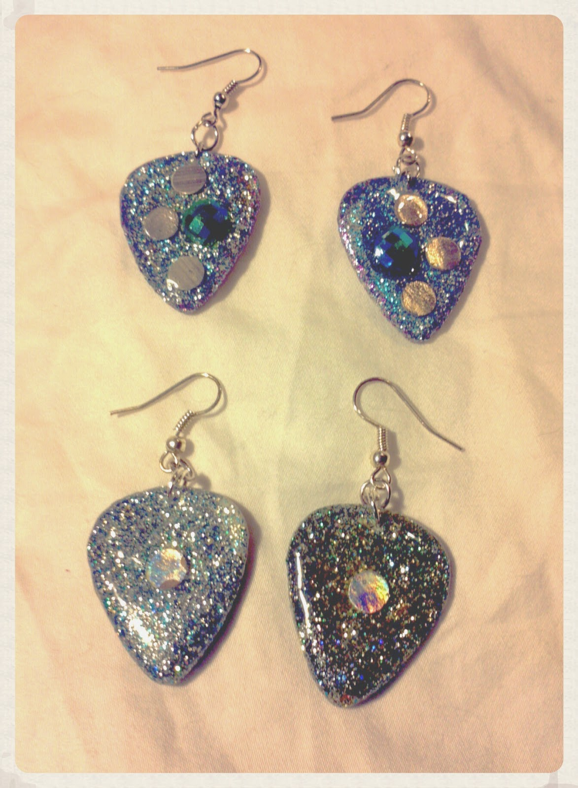 Glittery Guitar Pick Earrings