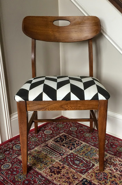 refinish, mid century chair, black and white, upholstery