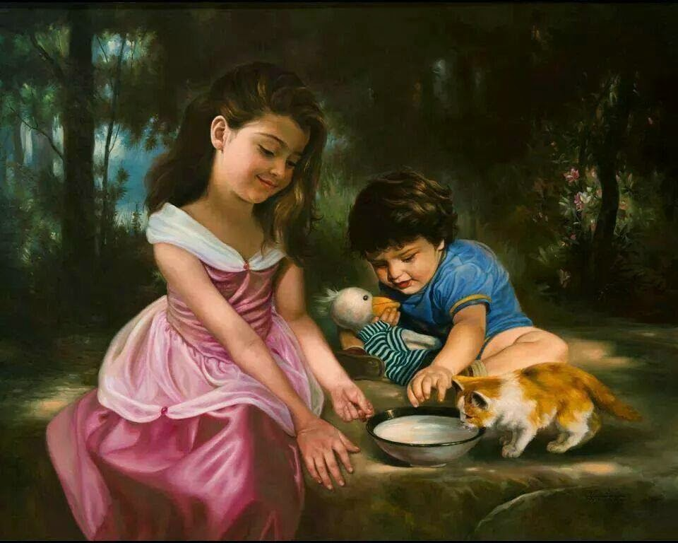 Amazing painting .... Cute kids and kitten | Beautiful ...