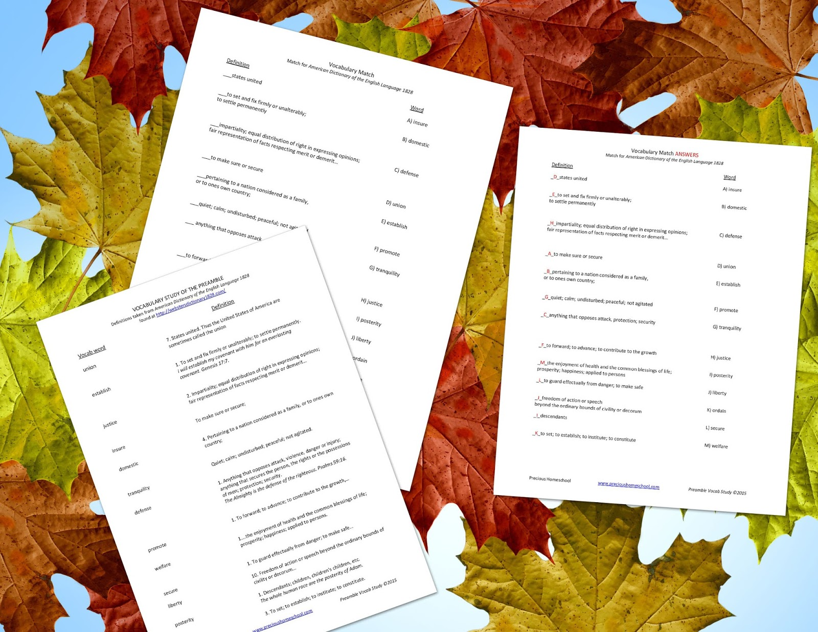Precious Homeschool Free Preamble Vocabulary Study Pages