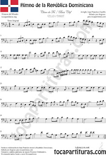 Himno de la República Dominicana Partitura de Violonchelo y Fagot Sheet Music for Cello and Bassoon Music Scores