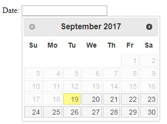 how to disable past dates in datepicker