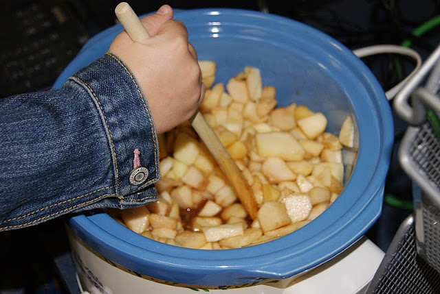 Making applesauce in a slow cooker photo