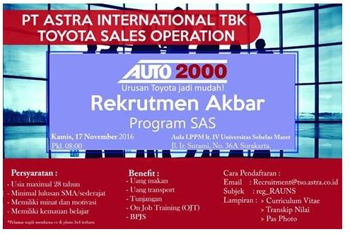 Lowongan Kerja PT Astra International, Lowongan Toyota Sales Operation, lowongan Minimal SMA