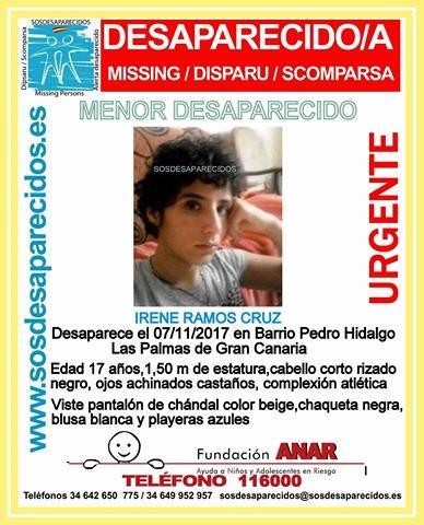 Menor desaparecida, Irene Ramos Cruz, barrio Pedro Hidalgo, Las Palmas de Gran Canaria