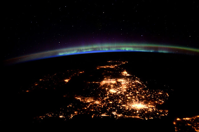 Aurora and British Isles seen from the International Space Station