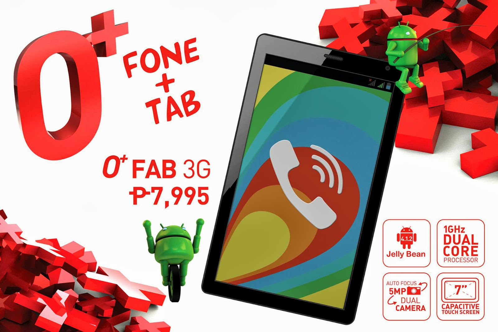 O+ Fab 3G Tablet with SIM slot, phablet specs for the price of P7995