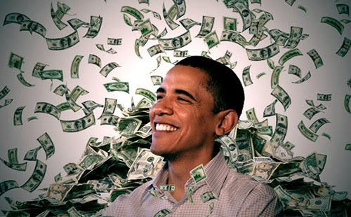 President Obama with money