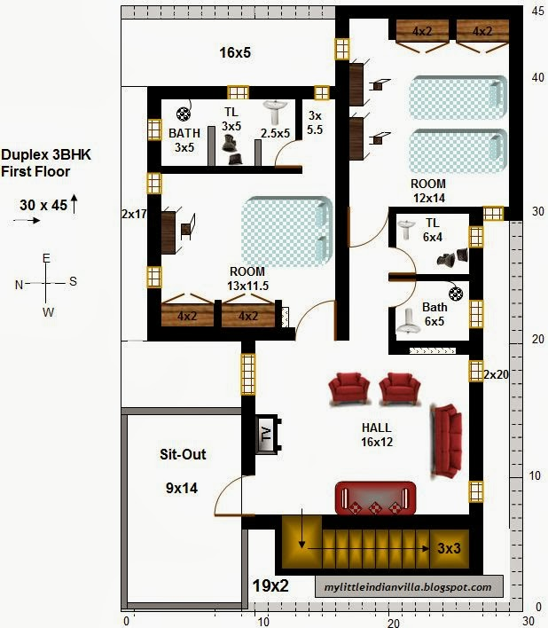 30 X 45 House Plans West Facing