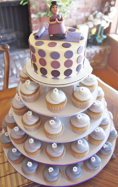 Purple Ombre Baby Shower Cupcake Tower with Yoga Mommy