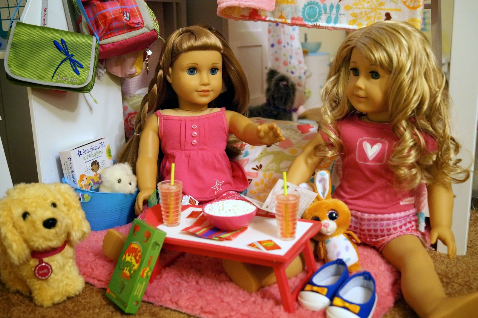 american girl doll play our first night with lanie. Black Bedroom Furniture Sets. Home Design Ideas