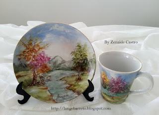 Xícara pintada à mão
