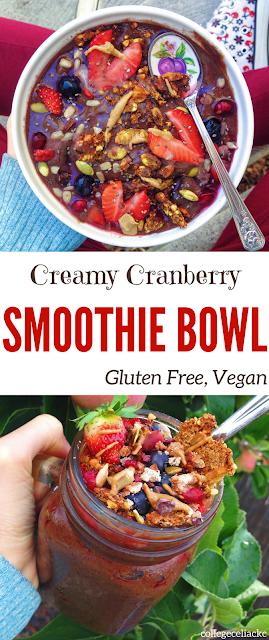 Creamy Cranberry Smoothie Bowl (Gluten Free, Vegan)