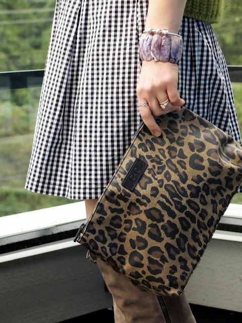 gingham skirt, leopard clutch, amethyst bracelet
