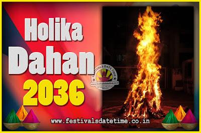 2036 Holika Dahan Puja Date & Time, 2036 Holika Dahan Calendar