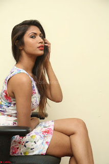 Nishi Ganda stunning cute in Flower Print short dress at Tick Tack Movie Press Meet March 2017 191.JPG