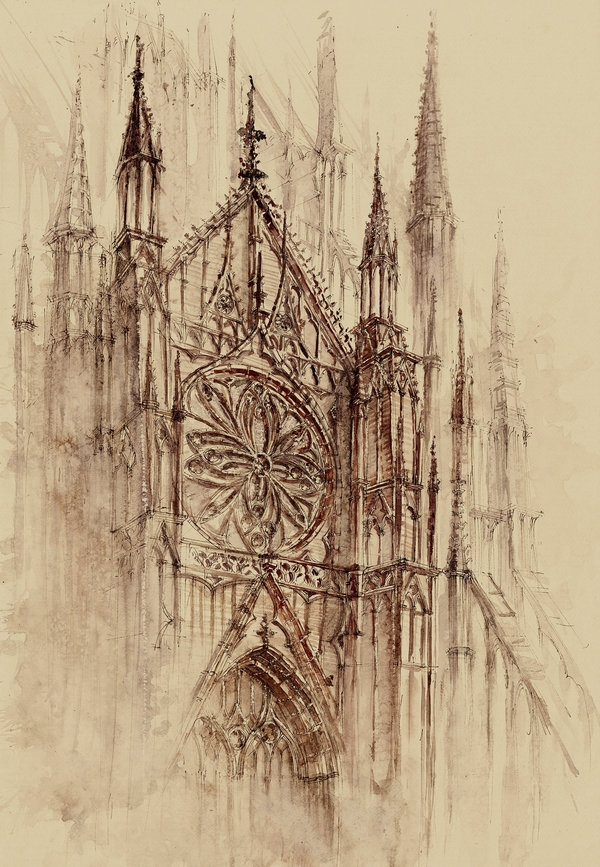 03-Gothic-Cathedral-Elwira-Pawlikowska-Gothic-and-Steampunk-style-Architecture-with-Ink-and-Watercolor-Illustrations-www-designstack-co