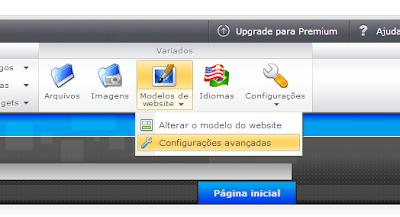 configurações avançadas no site webnode