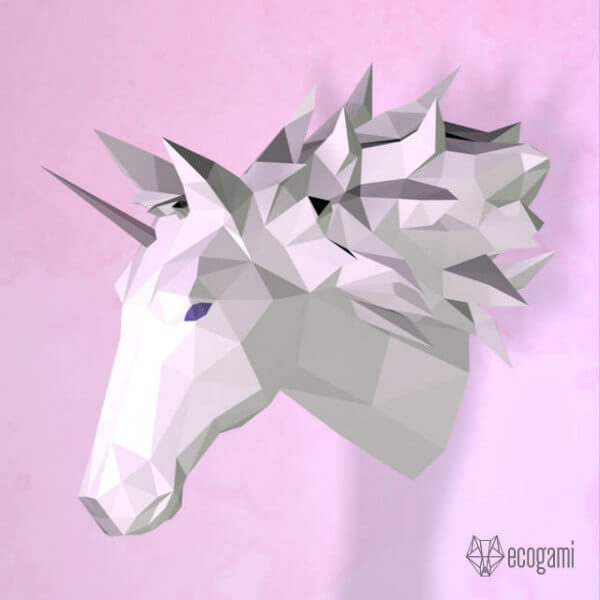 papercraft unicorn trophy head