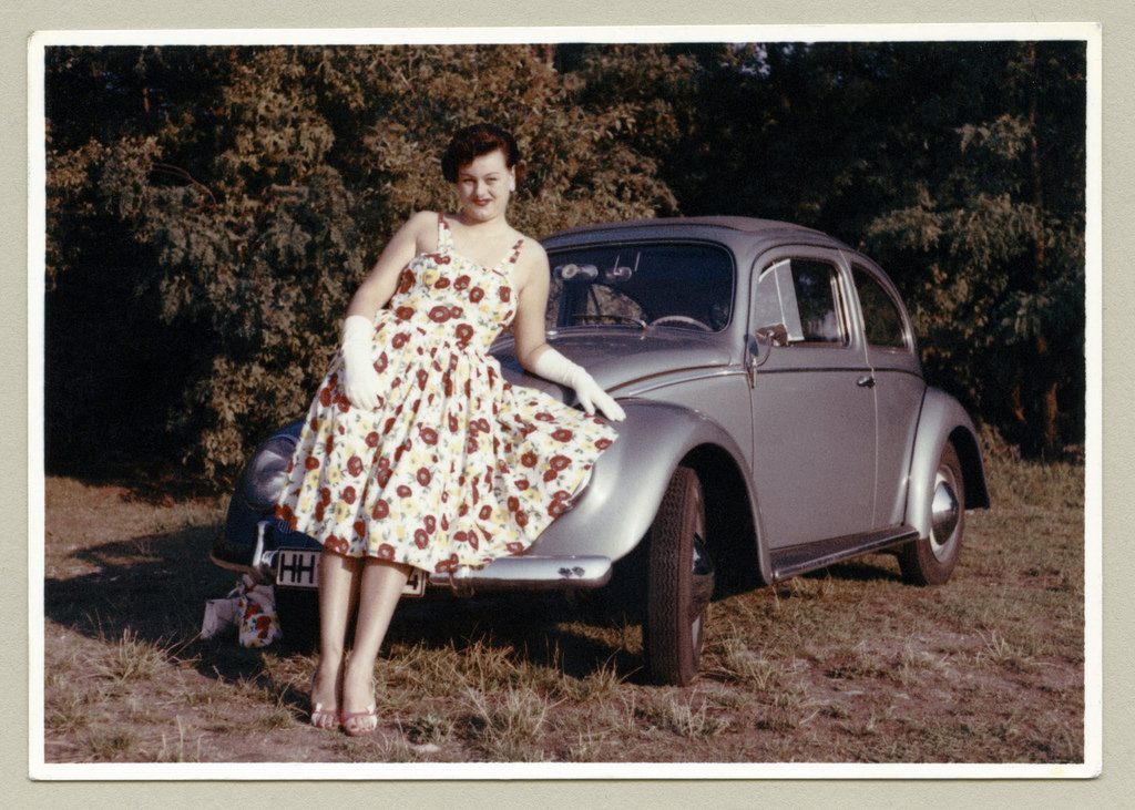 in vintage car Woman