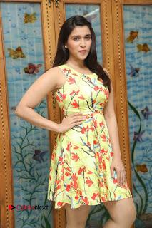 Actress Mannara Chopra Pictures in Floral Short Dress at Jakkanna Movie Interview  0032