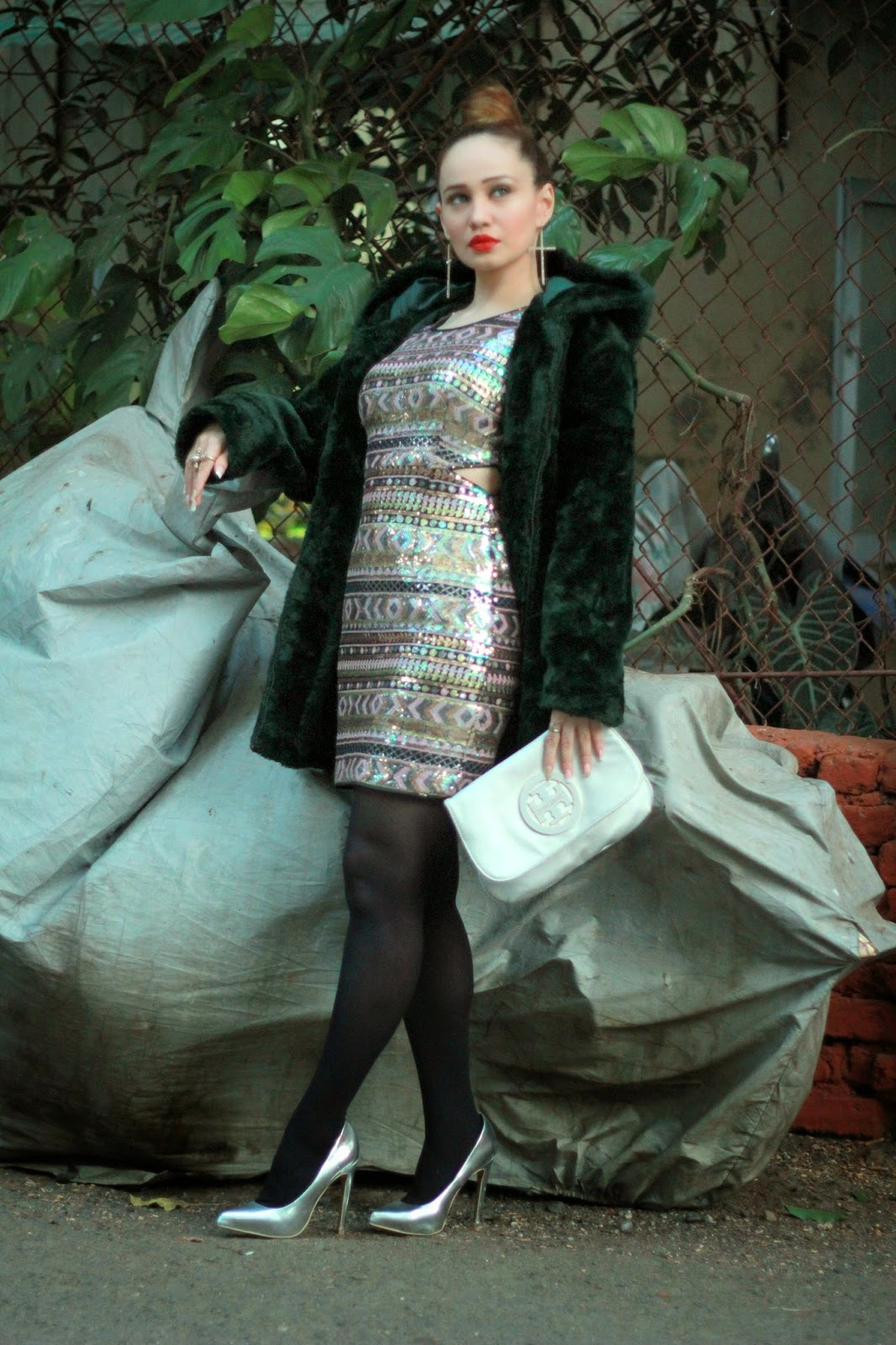 Forever21 Sequin Cut-out Dress & Green Fur Coat