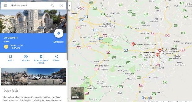 Google Maps Cantumkan Al-Quds sebagai Ibu Kota Israel
