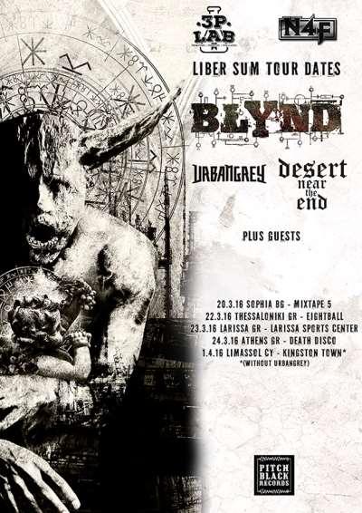 BLYND: Ζωντανά σε Αθήνα, Λάρισα και Θεσσαλονίκη με DESERT NEAR THE END και URBAN GREY