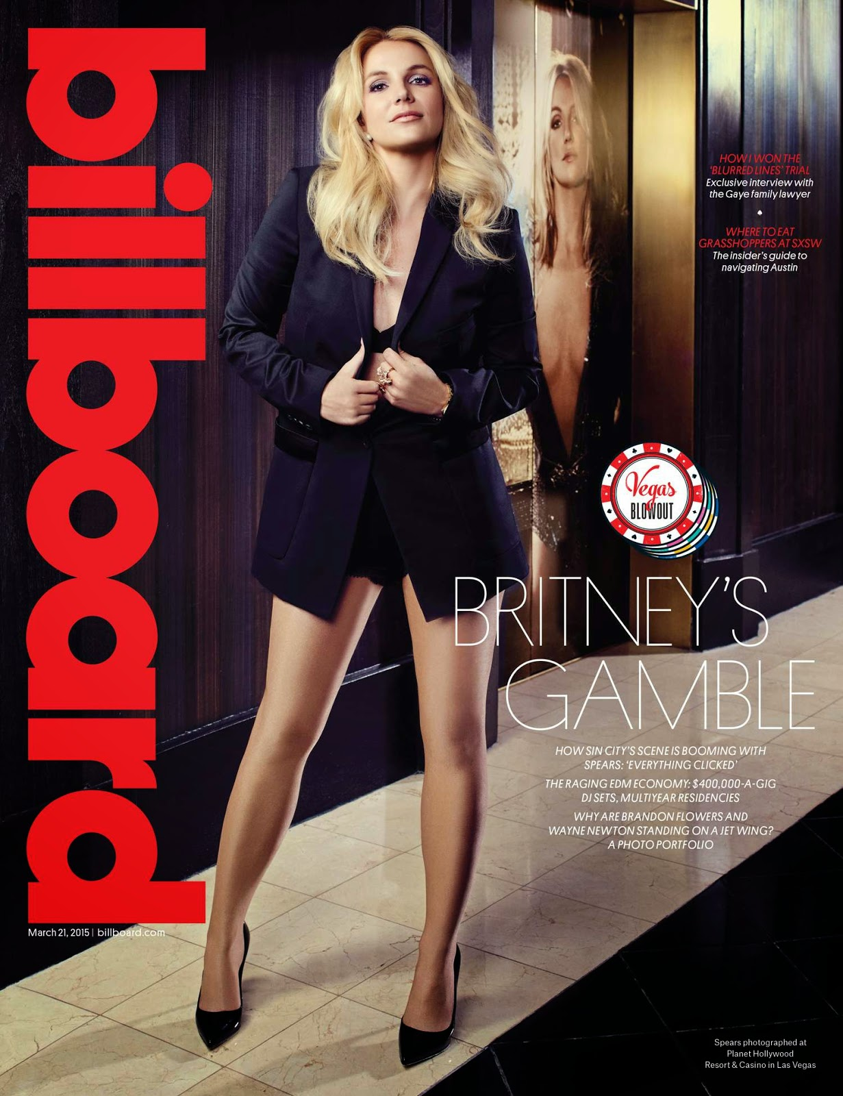 Britney Spears flaunts legs for the Billboard magazine March 2015 cover