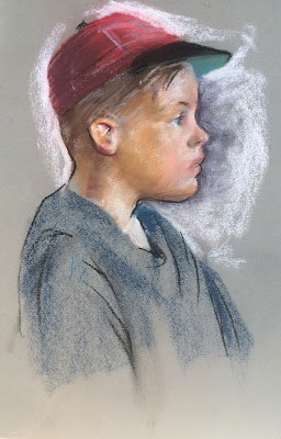 pastel sketch of boy in profile by Maine Artist Francis J. Quirk