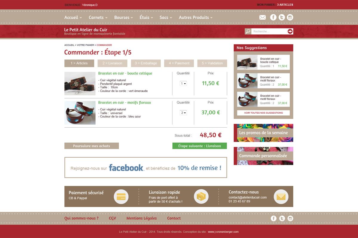 Création de site de shopping, le petit atelier du cuir