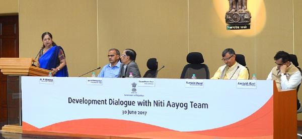Jaipur, Rajasthan, Chief Minister, Vasundhara Raje, niti Aayog, Arvind Pangaria, Development Dialog with Niti Aayog