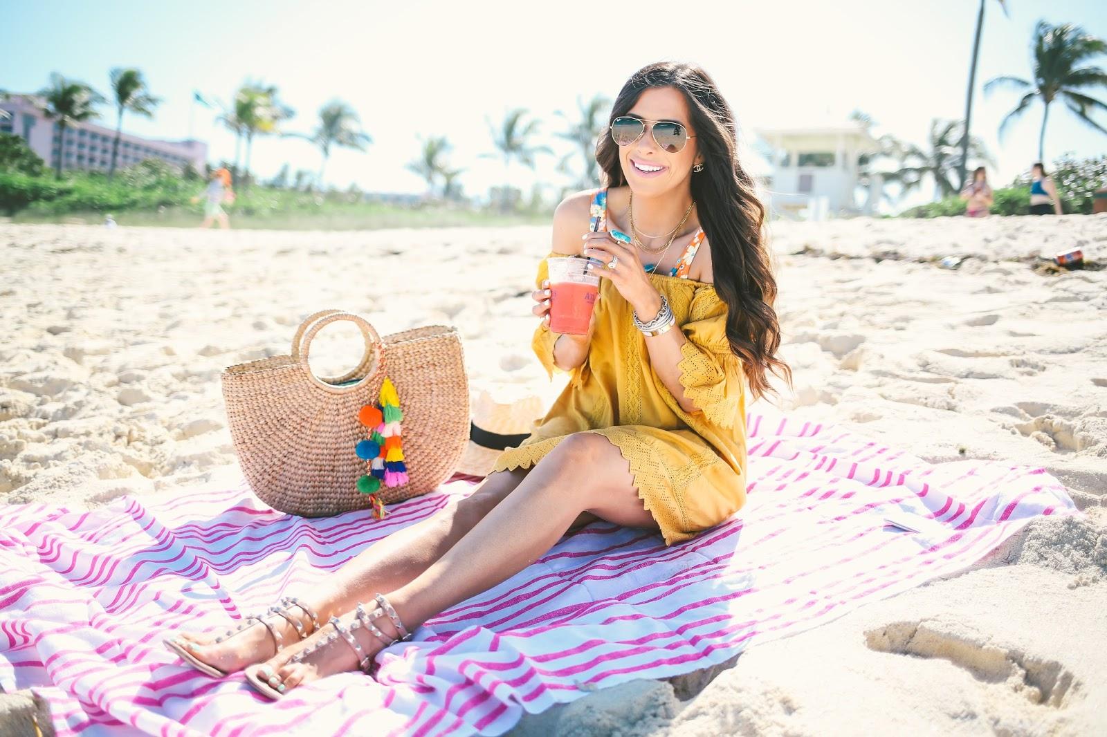 las bahadas beach towel, motel swimwear, revolve swimwear, bahamas atlantis review, emily gemma bahamas