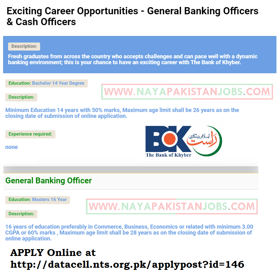 Bank of Khyber april 2019 career, BOK Cash Officer and Banking Officer Jobs NTS Online Apply