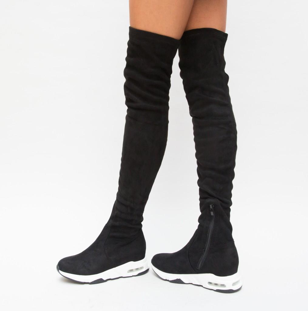 Cizme fete sport Negre de toamna la moda inalte ieftine