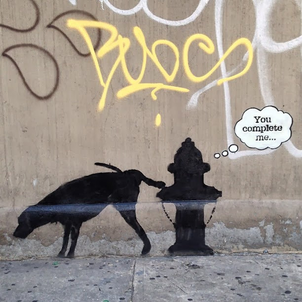 "Street Art By Banksy In New York City For ""Better Out Than In"" - Piece #3 You Complete Me. 1"