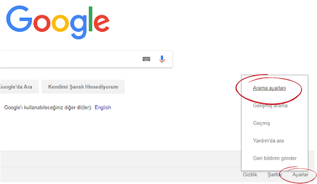 Google arama ayarları