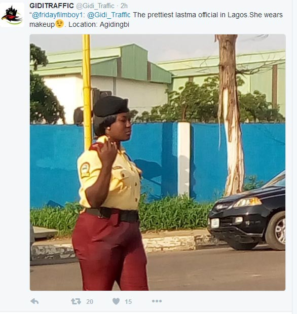 Is she the prettiest LASTMA official in Lagos?