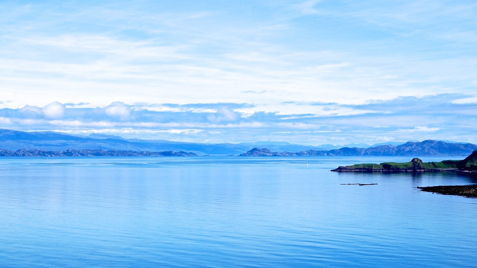View from the Isle of Skye toward mainland Scotland