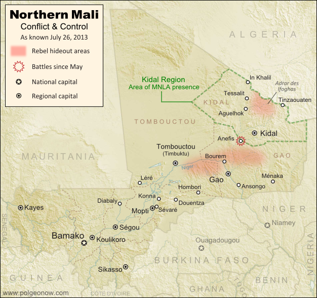 Updated map of fighting and territorial control in Mali during the 2013 French and African intervention against Islamist rebel groups MUJAO, Ansar Dine, and Al Qaeda in the Islamic Maghreb (AQIM). Reflects the situation as of July 27, 2013, including the Kidal region claimed by the Tuareg rebels of the National Movement for the Liberation of Azawad (MNLA).